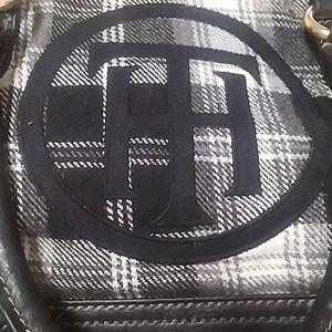 "Tommy Hilfiger Purse Black & White 15"" x 10""."